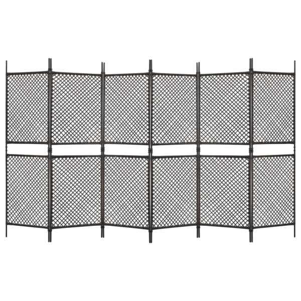 vidaXL Paravan cameră cu 6 panouri, maro, 360 x 200 cm, poliratan