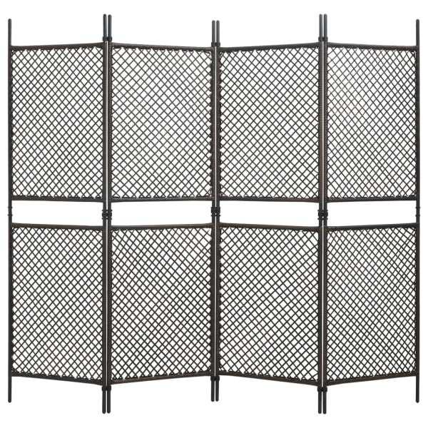 vidaXL Paravan cameră cu 4 panouri, maro, 240 x 200 cm, poliratan