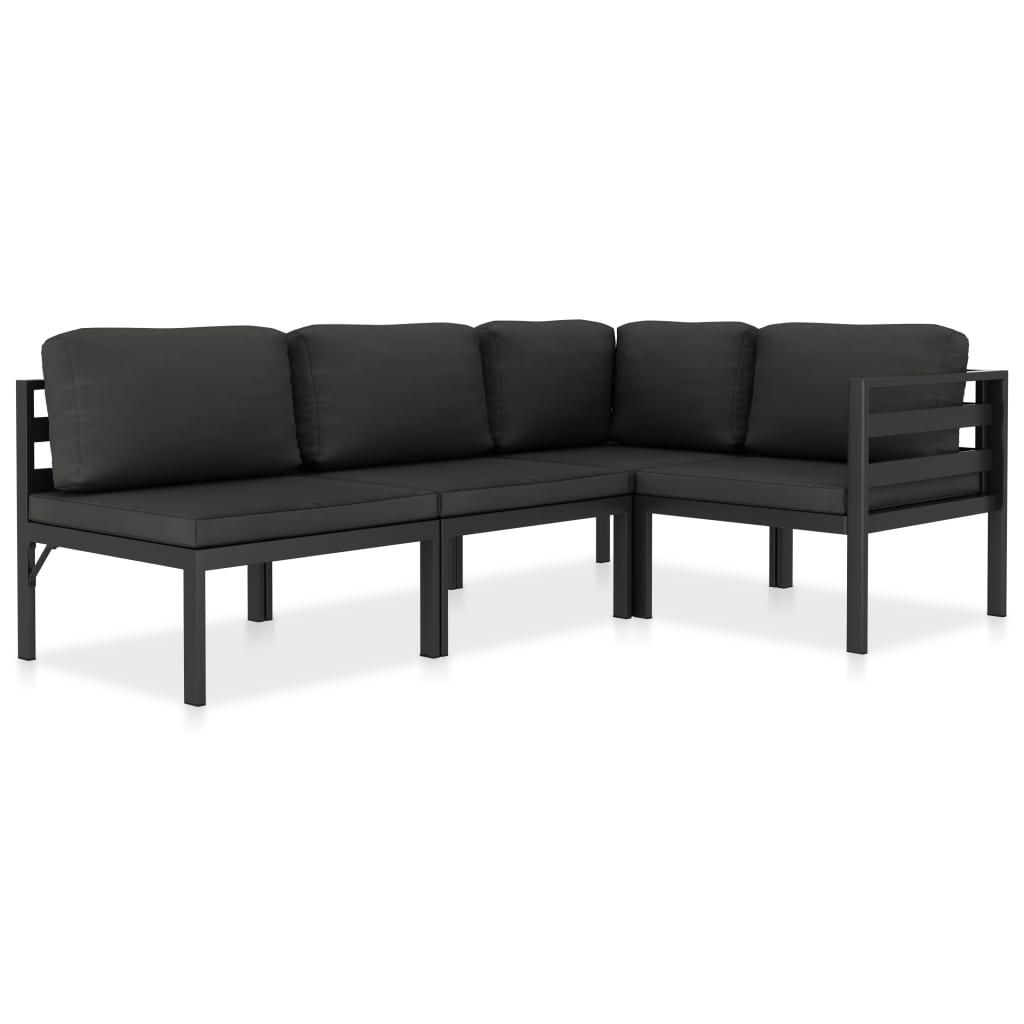 vidaXL Set mobilier de grădină cu perne, 4 piese, antracit, aluminiu