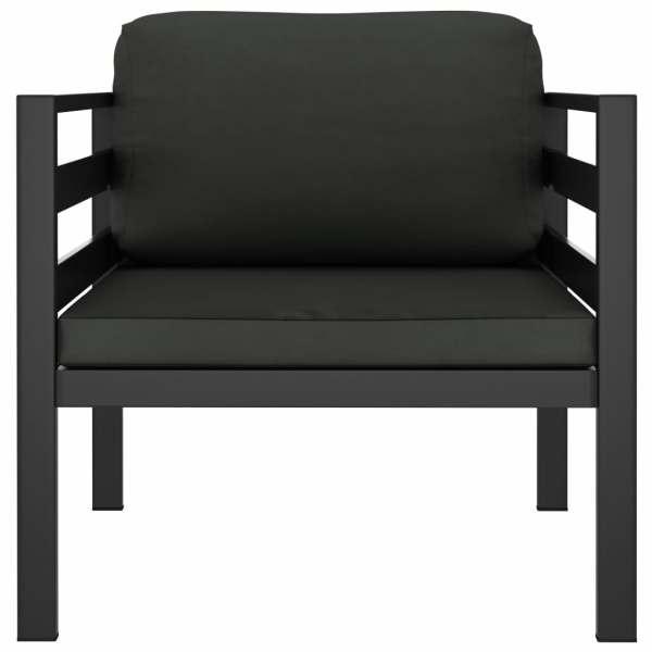 vidaXL Canapea de 1 persoană cu perne, antracit, aluminiu