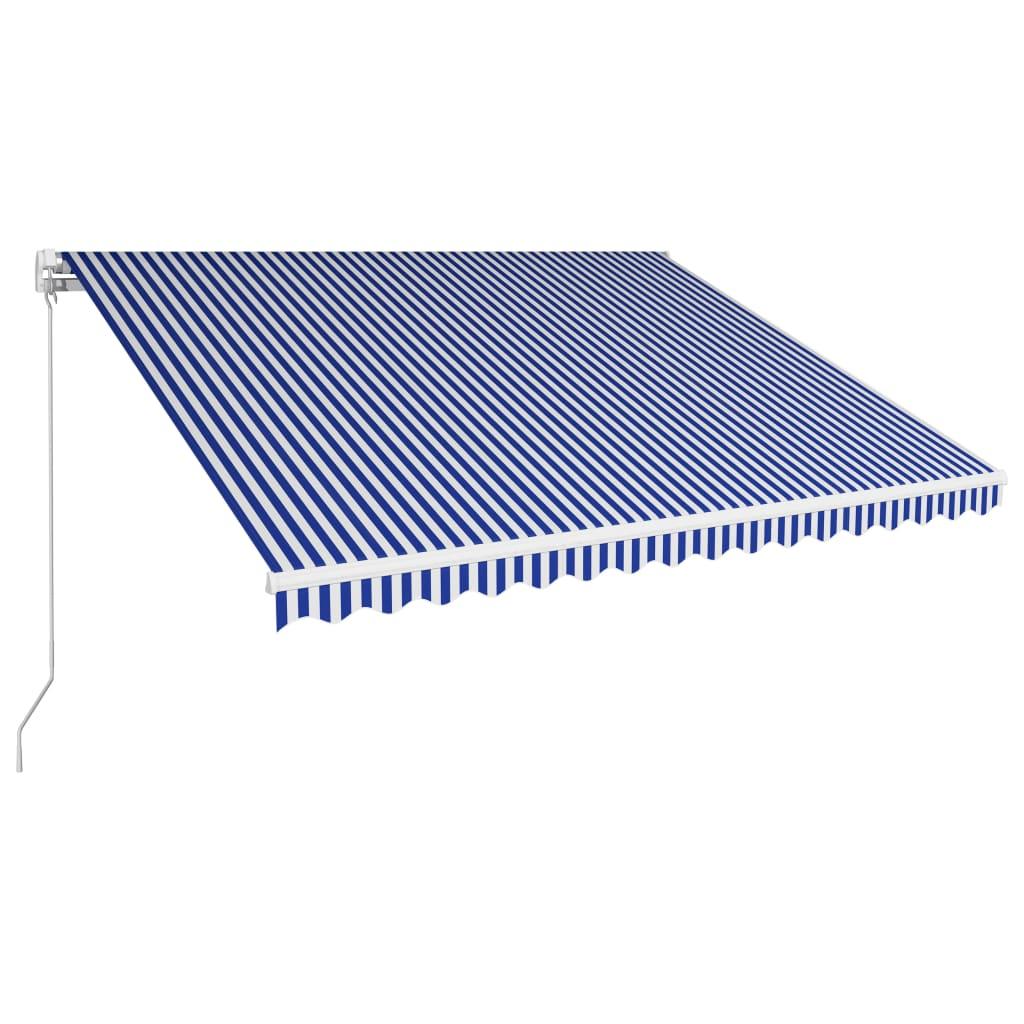 Copertină retractabilă manual, albastru și alb, 400 x 300 cm