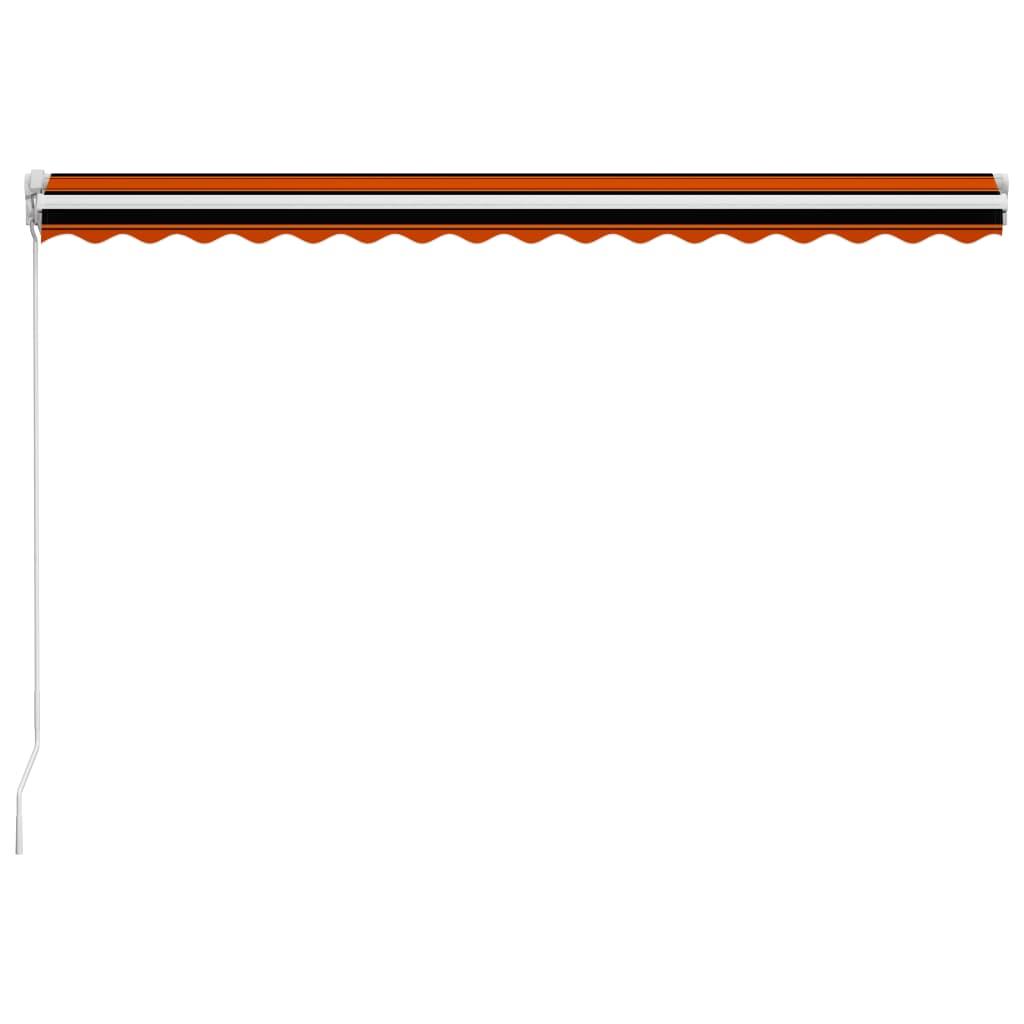 Copertină retractabilă manual, portocaliu & maro, 400 x 300 cm
