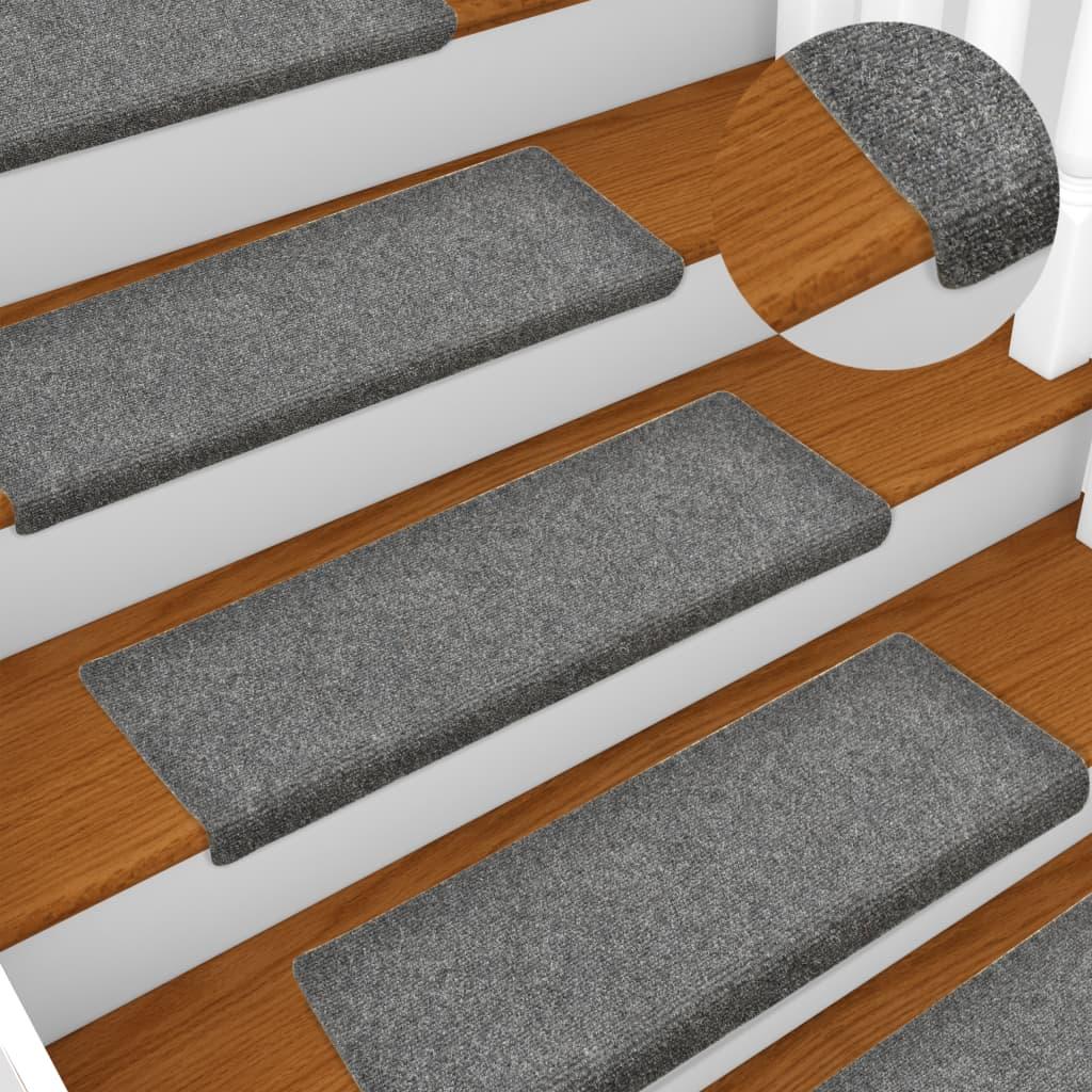 vidaXL Covorașe de scări cusătură punch, 15 buc, gri deschis, 65×25 cm