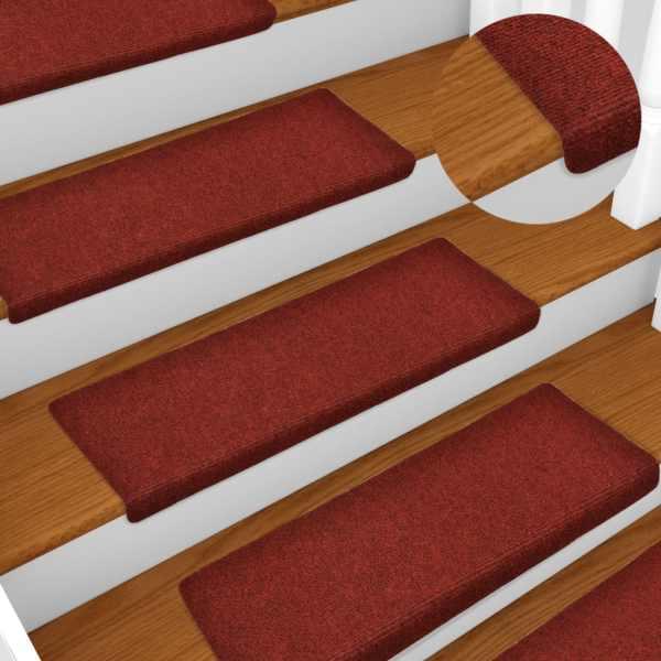 vidaXL Covorașe de scări cusătură punch, 15 buc., roșu, 65 x 25 cm