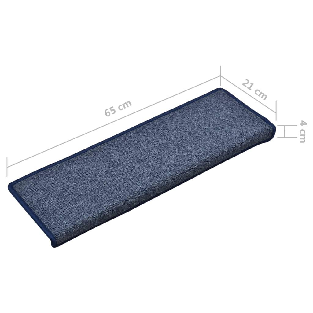 Covorașe de trepte de scară, 15 buc., albastru, 65 x 25 cm
