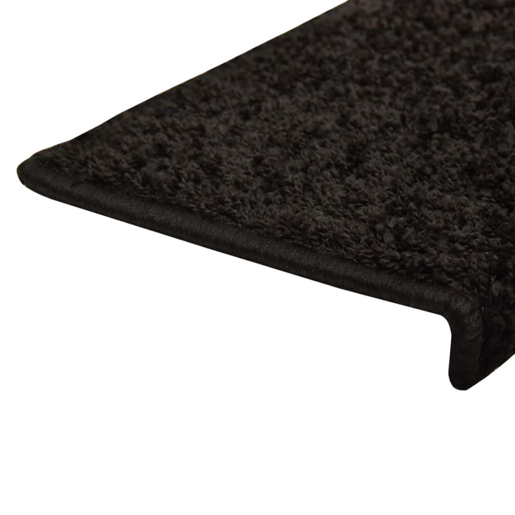 Covorașe de trepte de scară, 15 buc., negru, 65 x 25 cm