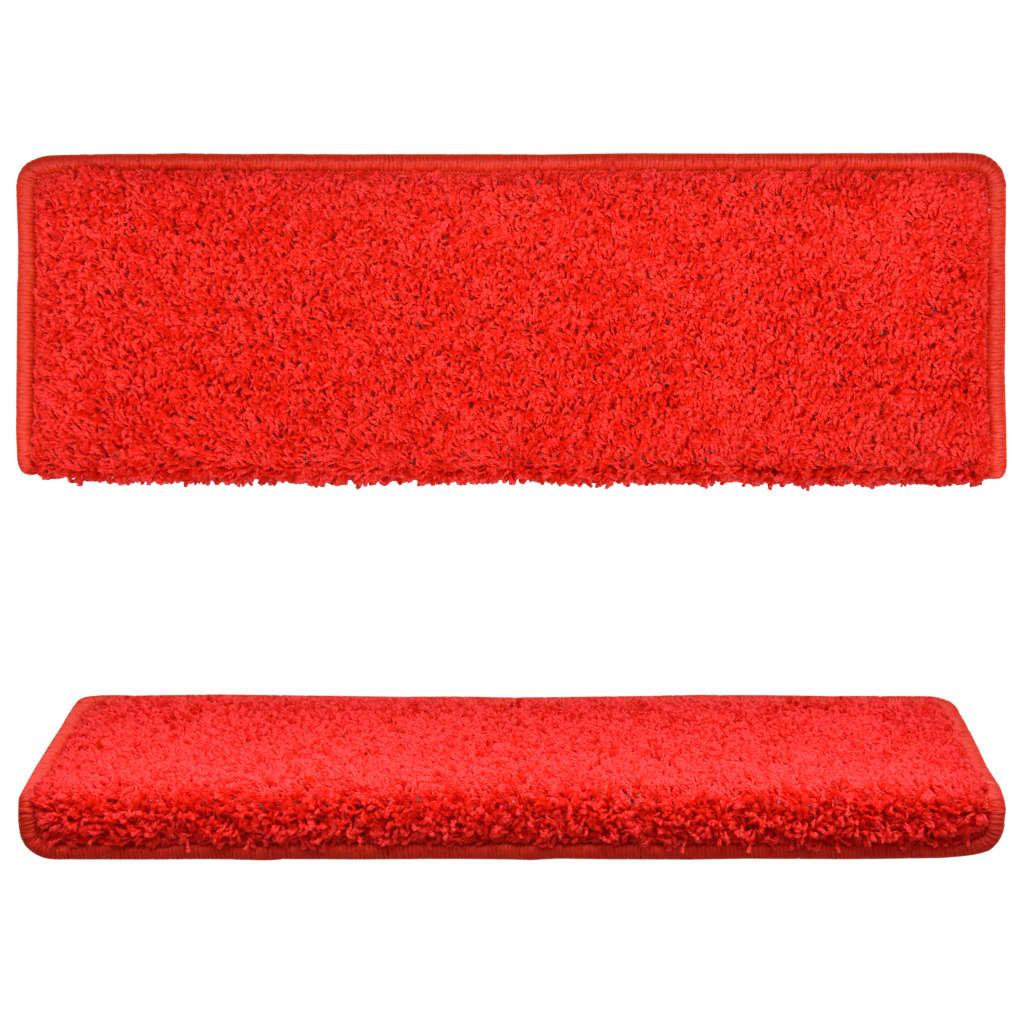 Covorașe de trepte de scară, 15 buc., roșu, 65 x 25 cm