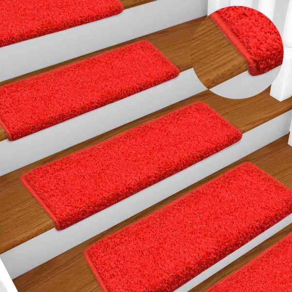 vidaXL Covorașe de trepte de scară, 15 buc., roșu, 65 x 25 cm
