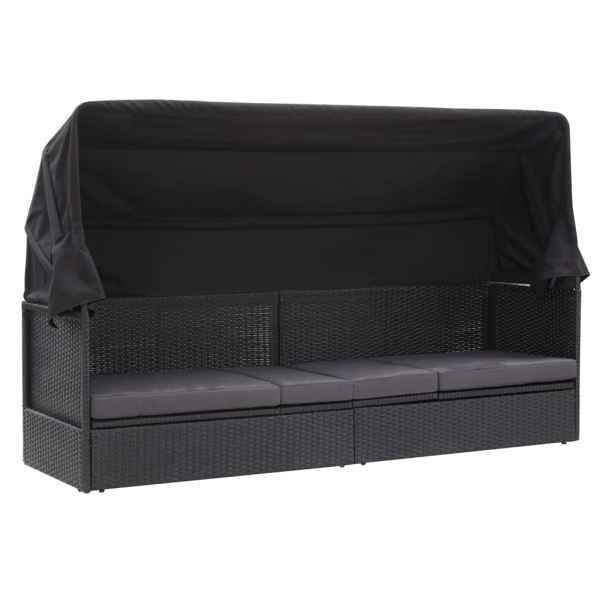 vidaXL Pat canapea de exterior cu copertină, negru, poliratan