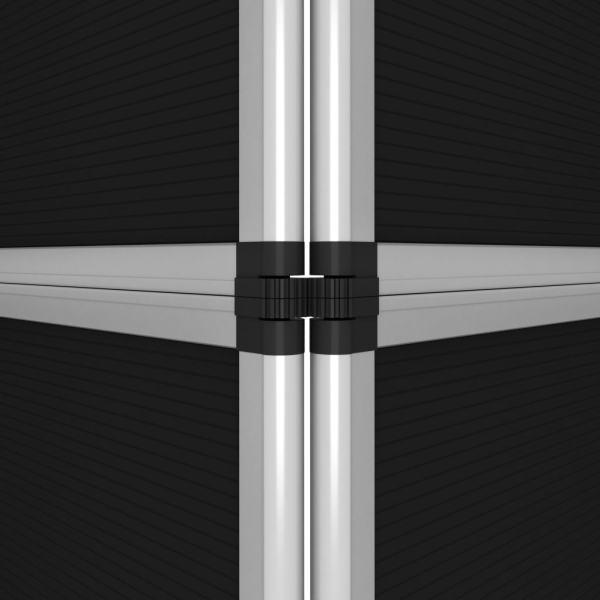 Perete de afișaj pliabil cu 15 panouri, negru, 302×200 cm