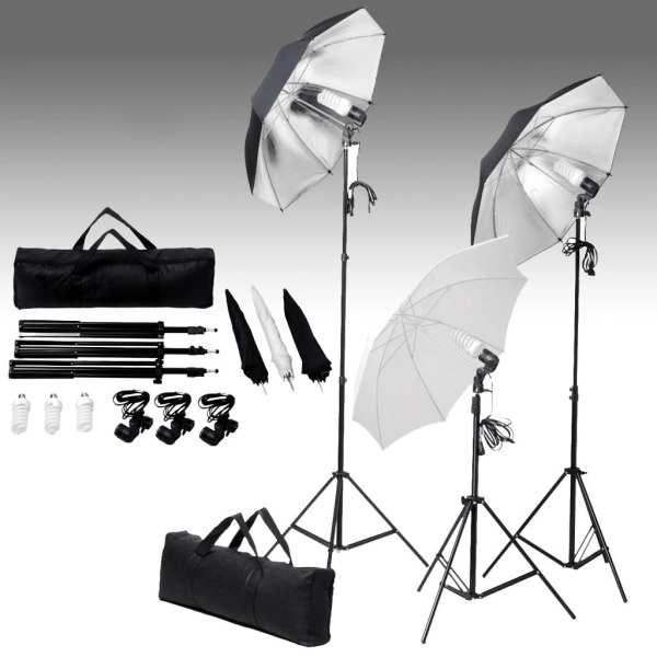 vidaXL Kit studio foto cu fundal și set lumini