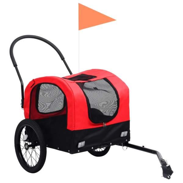 vidaXL Remorcă bicicletă & cărucior 2-în-1 animale, roșu și negru
