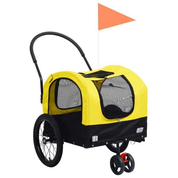 vidaXL Remorcă bicicletă & cărucior 2-în-1 animale, galben și negru