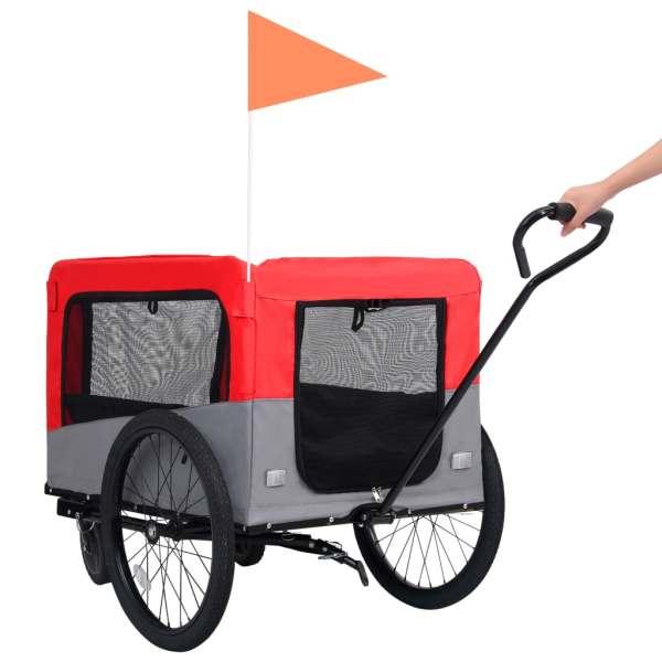 vidaXL Remorcă bicicletă & cărucior 2-în-1 pentru animale, roșu și gri