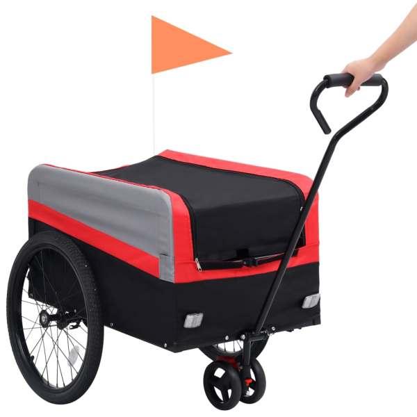 vidaXL Remorcă bicicletă & cărucior 2-în-1 XXL, roșu, gri și negru