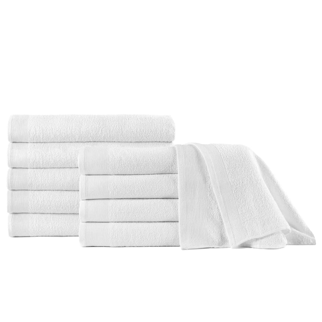 vidaXL Prosoape de duș, 10 buc., alb, 70 x 140 cm, bumbac, 350 gsm