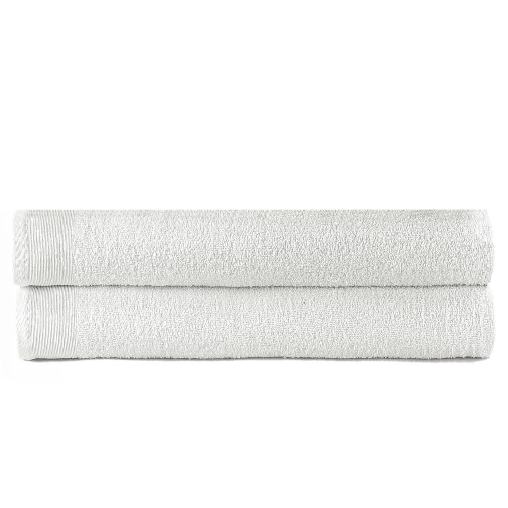 vidaXL Prosoape de baie, 2 buc., alb, 100 x 150 cm, bumbac, 450 gsm