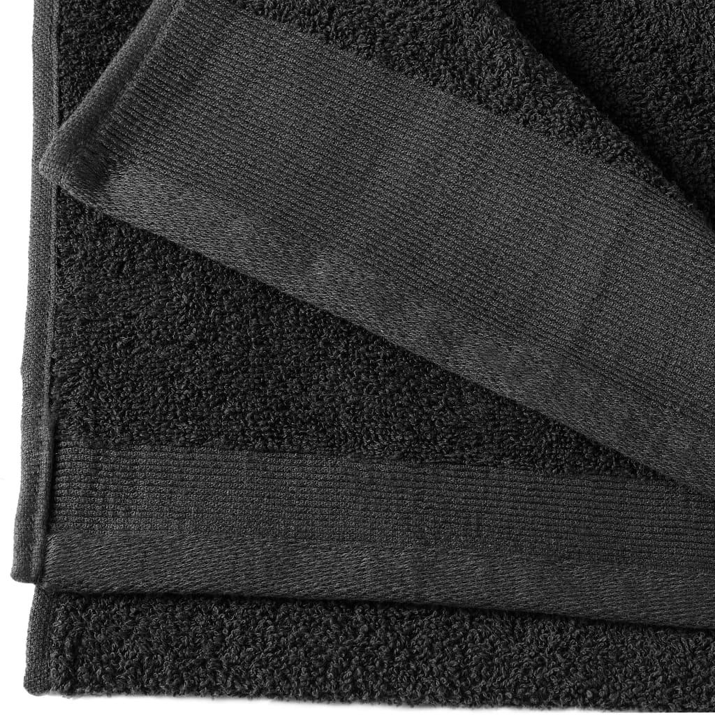 vidaXL Prosoape de mâini, 2 buc., negru, 50 x 100 cm, bumbac, 450 gsm