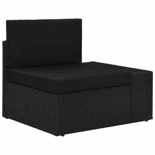 vidaXL Canapea de colț modulară cu cotieră stânga, negru, poliratan