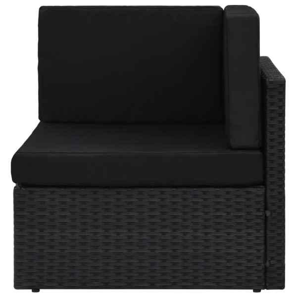 vidaXL Canapea de colț modulară, negru, poliratan