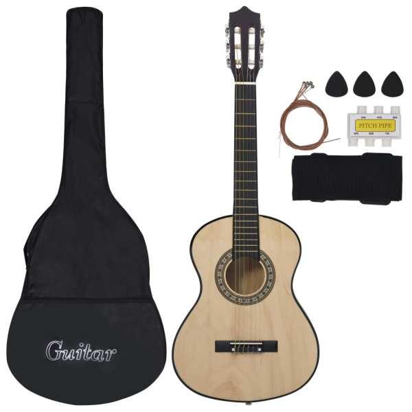 vidaXL Set chitară clasică pentru copii/începători 8 piese 1/2 34″