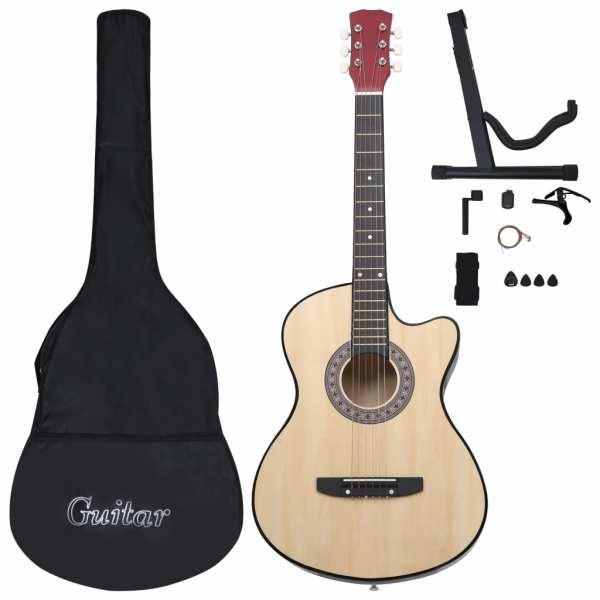 vidaXL Set chitară acustică occidentală 12 piese, cu 6 corzi, 38″