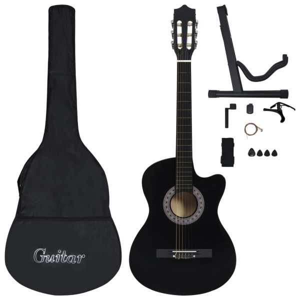 vidaXL Set chitară acustică occidentală 12 piese 6 corzi negru 38″