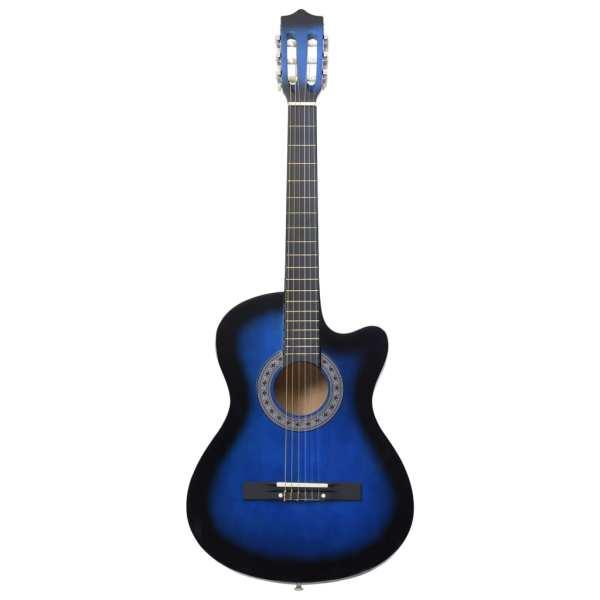 vidaXL Chitară acustică occidentală, cu 6 corzi, 38″, albastru ombre