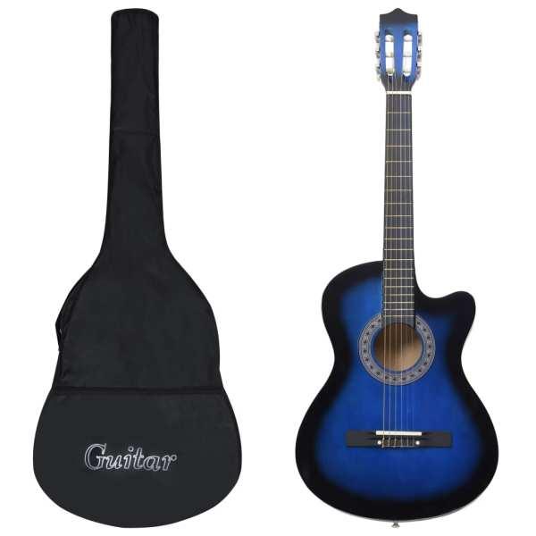 vidaXL Set chitară acustică occidentală 12 piese 6 corzi albastru 38″