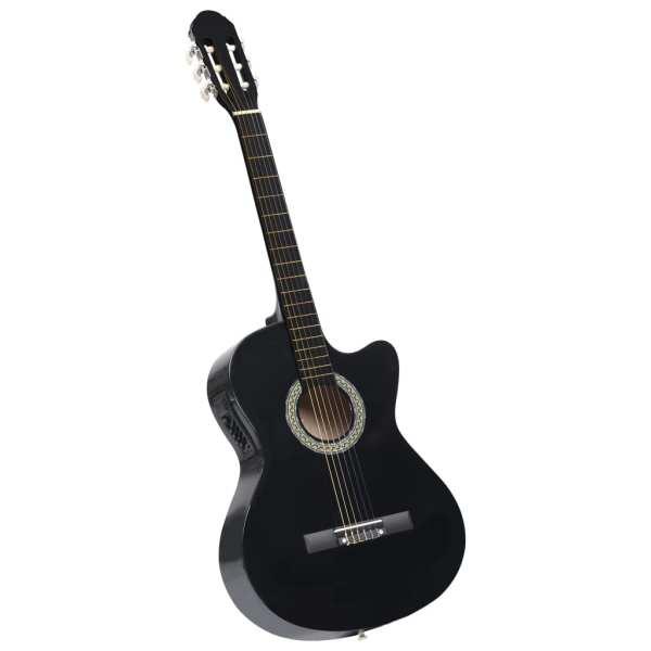 vidaXL Chitară acustică occidentală cu egalizator, cu 6 corzi, negru