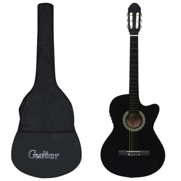 vidaXL Set chitară acustică cu egalizator, 12 piese, 6 corzi, negru