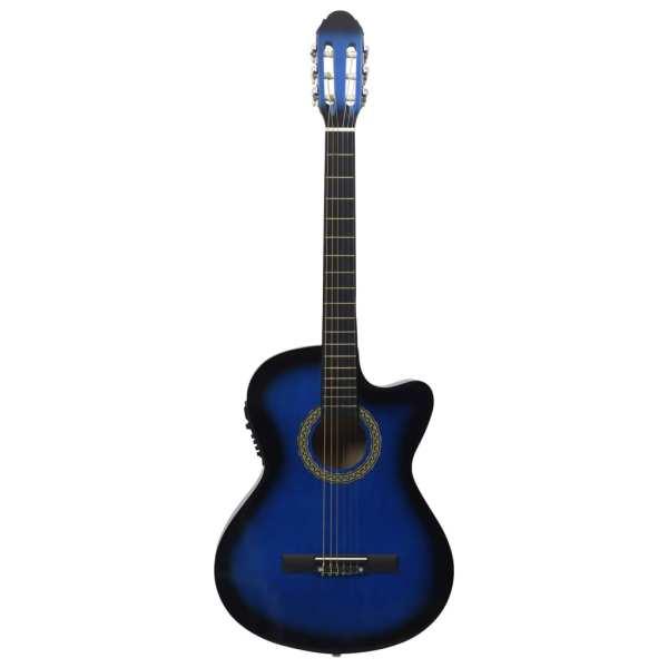 vidaXL Chitară acustică occidentală cu egalizator, cu 6 corzi albastru