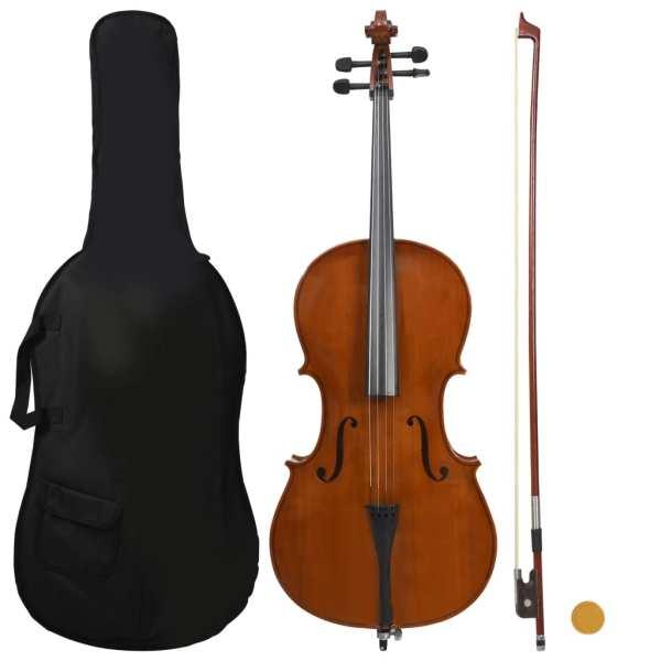 vidaXL Set complet violoncel cu husă, arcuș păr natural, lemn 4/4