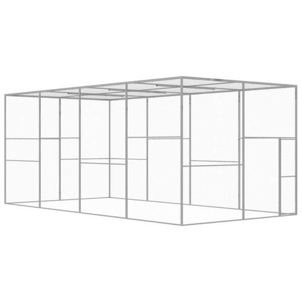 vidaXL Cușcă pentru pisici, 6 x 3 x 2,5 m, oțel galvanizat