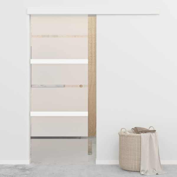 vidaXL Ușă glisantă, argintiu, 76 x 205 cm, sticlă ESG și aluminiu