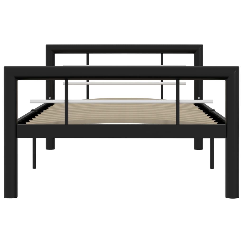 Cadru de pat, negru și alb, 100 x 200 cm, metal