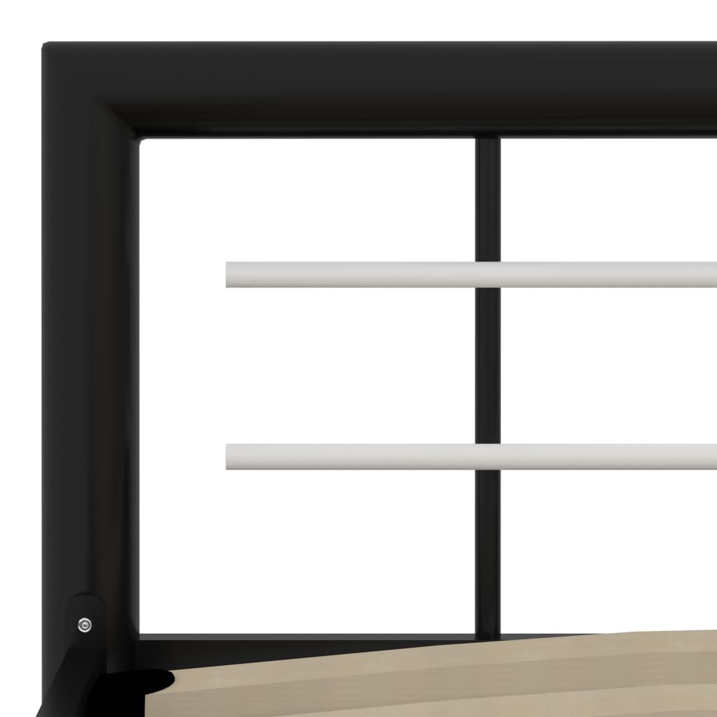 Cadru de pat, negru și alb, 160 x 200 cm, metal