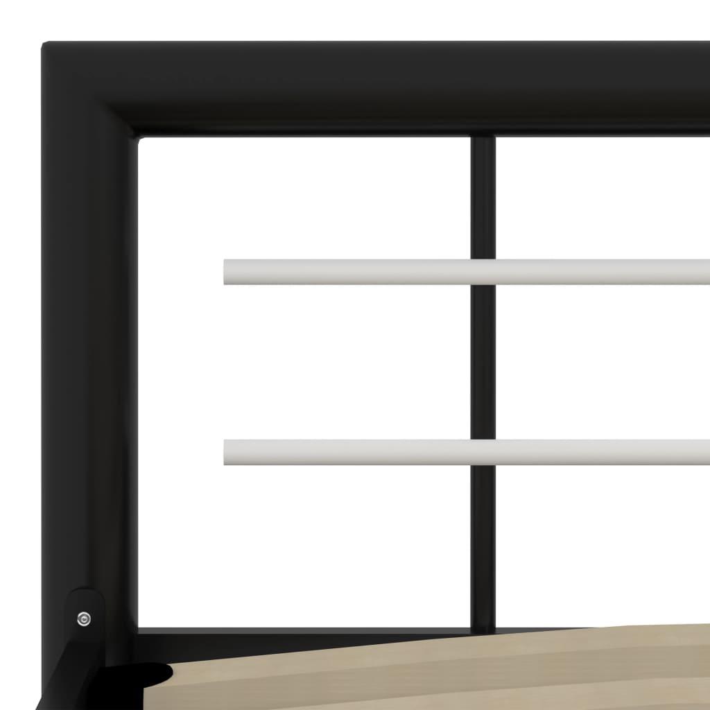 Cadru de pat, negru și alb, 180 x 200 cm, metal