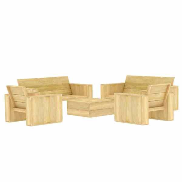 vidaXL Set mobilier de grădină, 5 piese, lemn de pin tratat