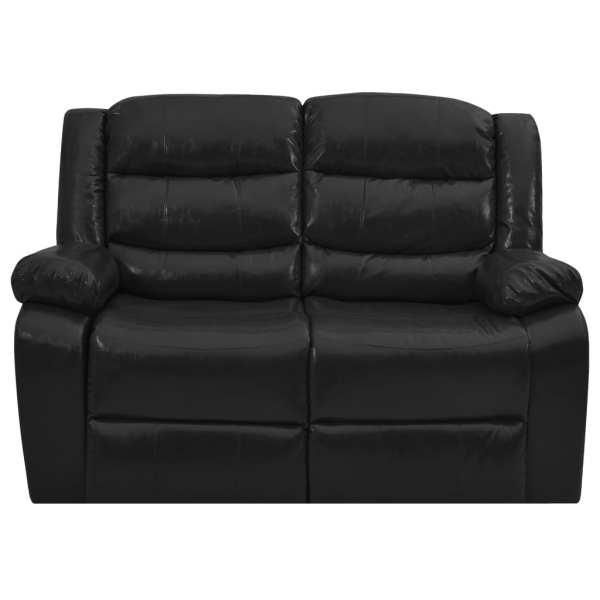Canapea extensibilă, 2 locuri, negru, piele ecologică