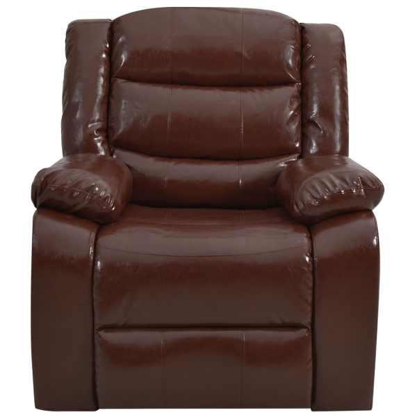 Canapea extensibilă, maro, piele ecologică