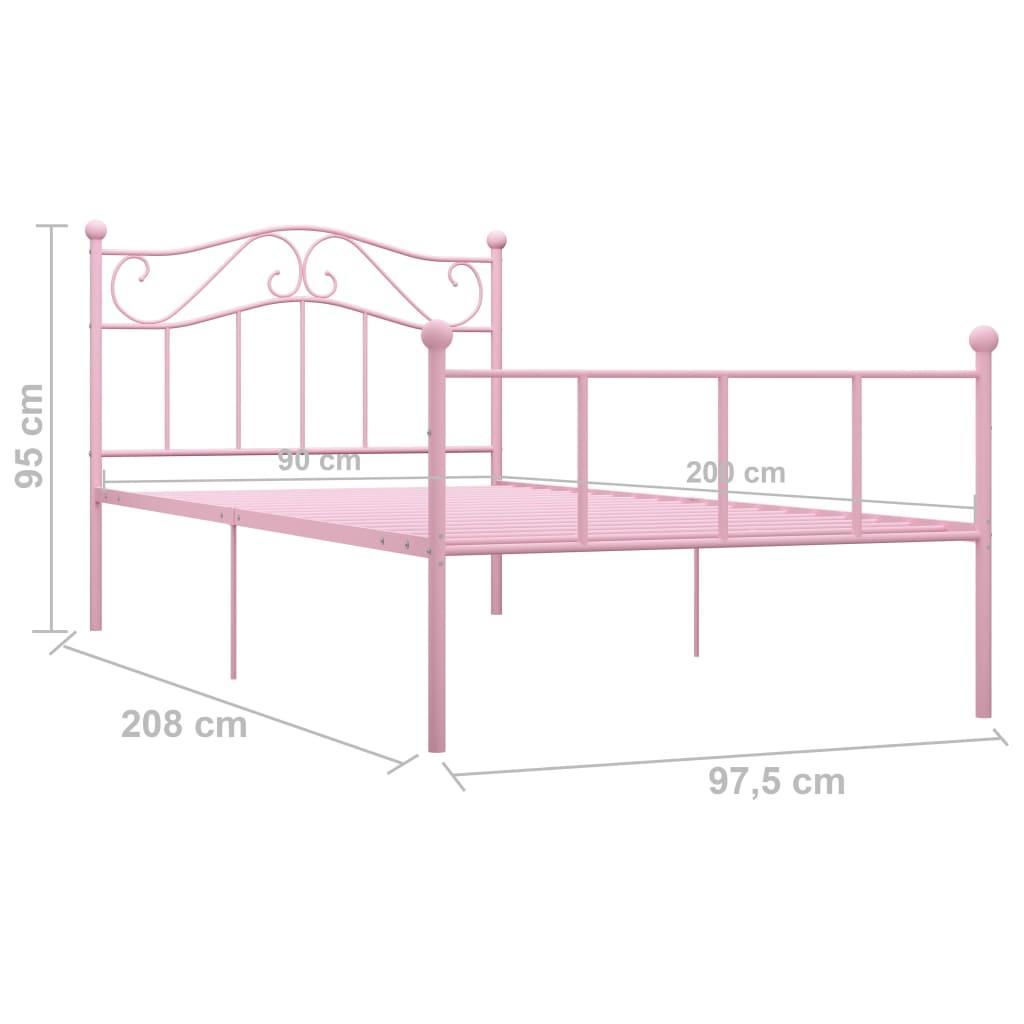 Cadru de pat, roz, 90 x 200 cm, metal