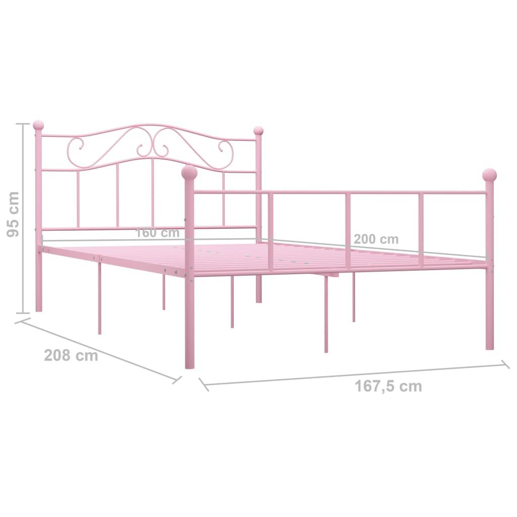 Cadru de pat, roz, 160 x 200 cm, metal