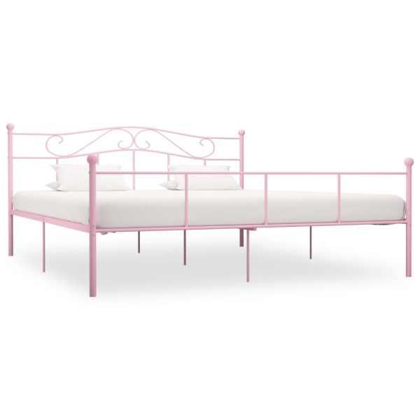 vidaXL Cadru de pat, roz, 180 x 200 cm, metal