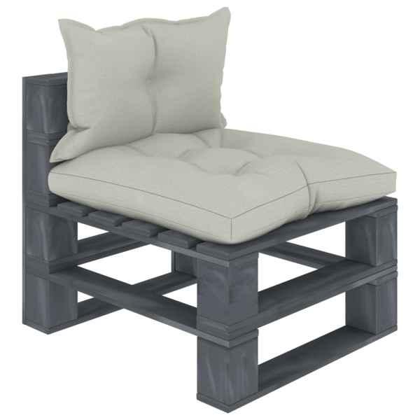 vidaXL Canapea de grădină de mijloc din paleți cu perne bej, lemn