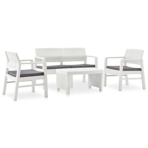 vidaXL Set mobilier de grădină cu perne, 4 piese, alb, plastic