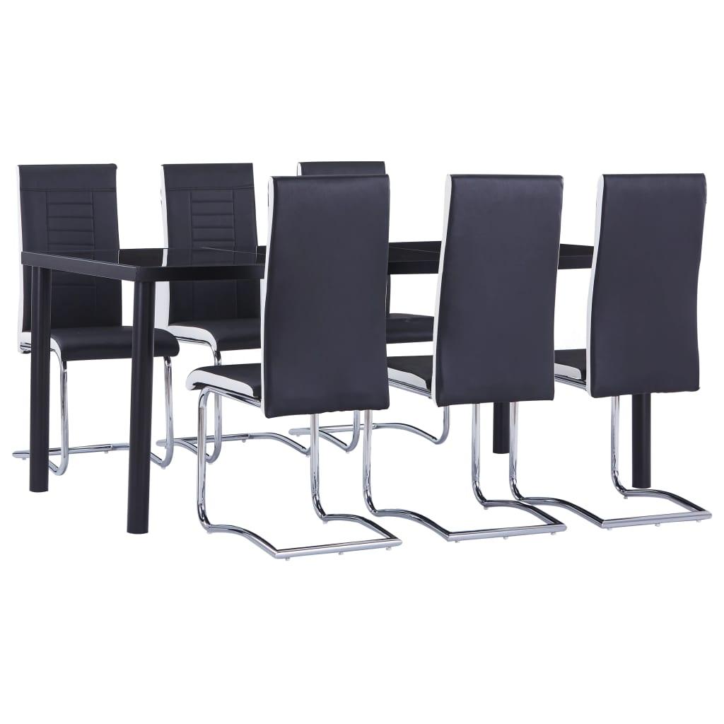 vidaXL Set mobilier de bucătărie, 7 piese, negru, piele ecologică