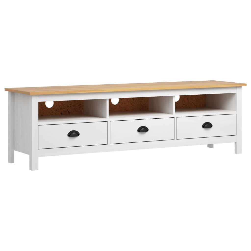 vidaXL Comodă TV Hill Range, alb, 158x40x47 cm, lemn masiv de pin