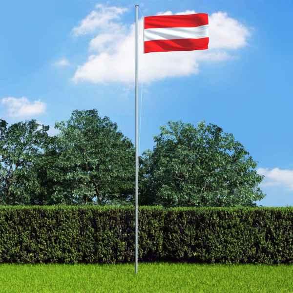vidaXL Steag Austria și stâlp din aluminiu, 6,2 m