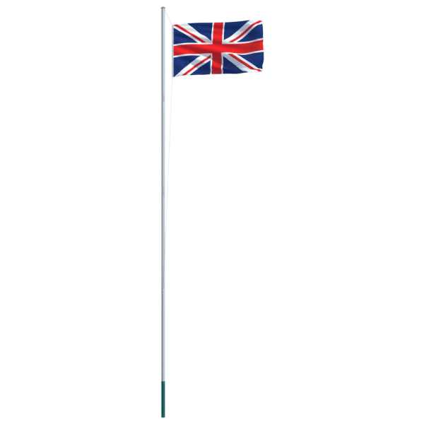 Steag Marea Britanie și stâlp din aluminiu, 6,2 m